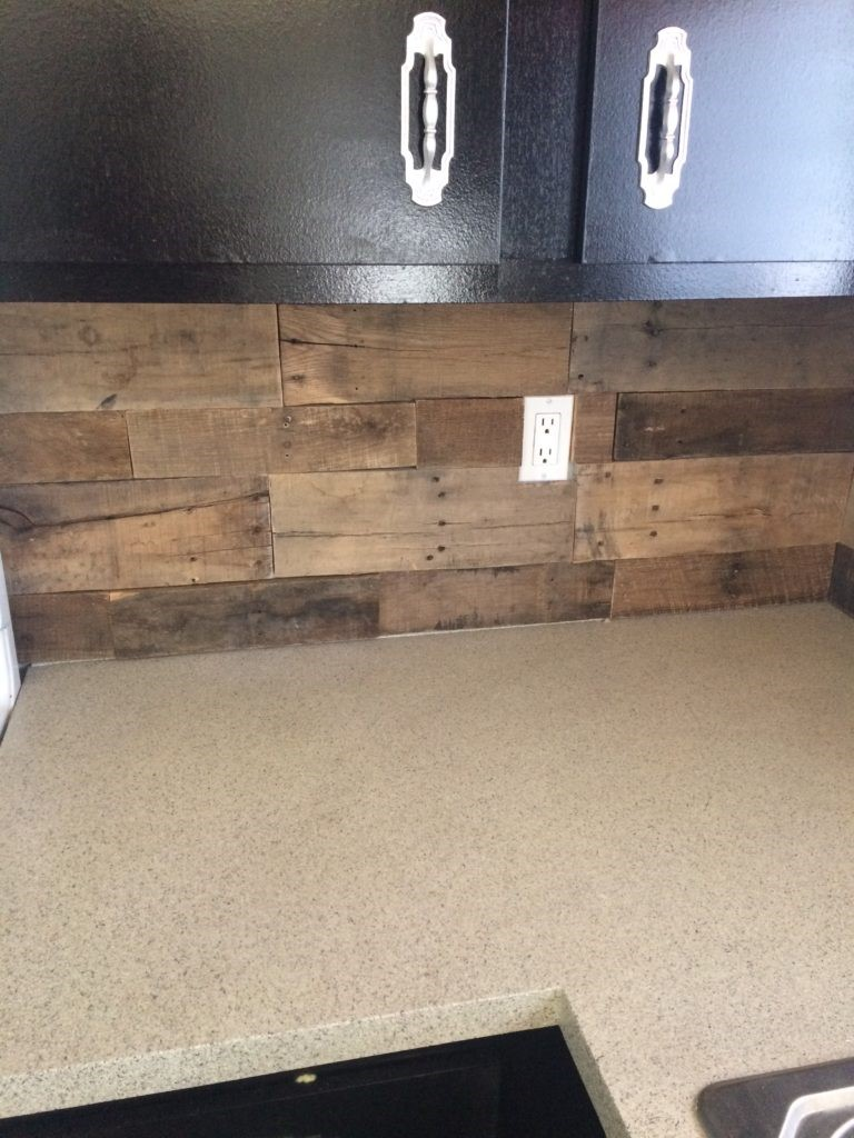 Pallet Wood Backsplash Pallet Wood Backsplash Simply House To Home